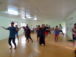 Aberaam leading the Zumba session in Tarawa