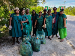 Some of the ladies and their collected rubbish